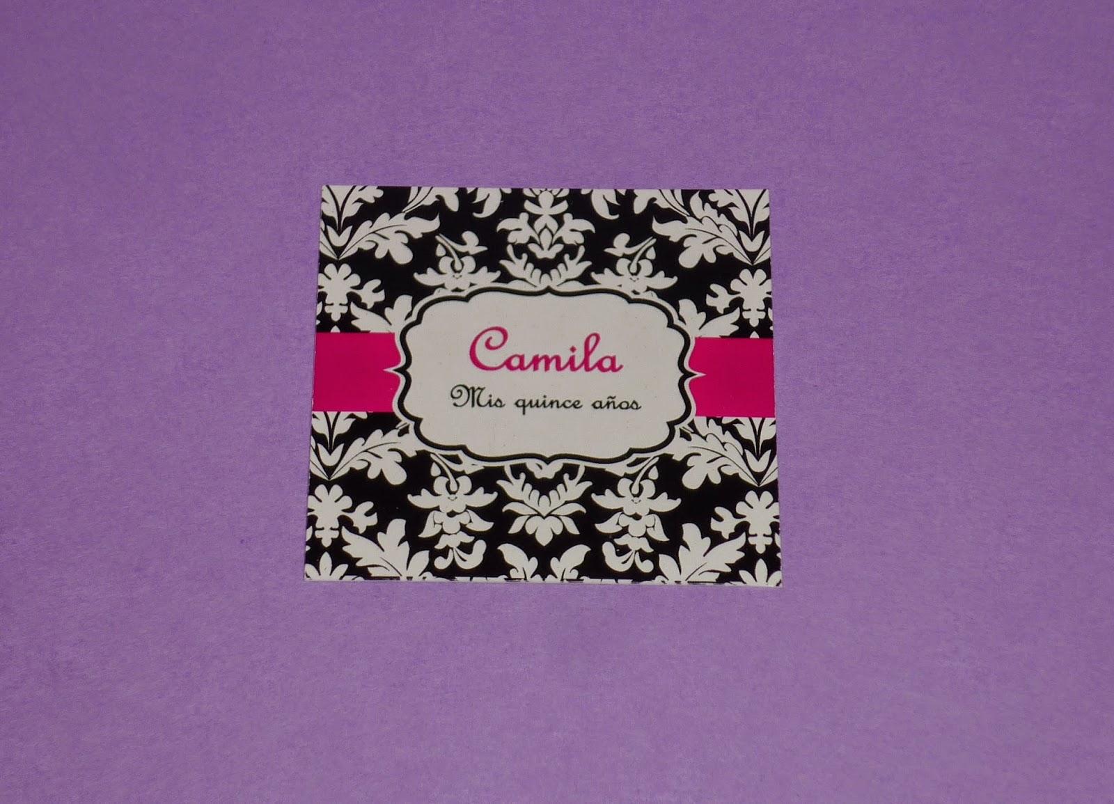 Minimandy. Tarjetita para Souvenir. 15 Años. Candy Bar. Centro de Mesa. Golosineros. Papel. Invitaciones.
