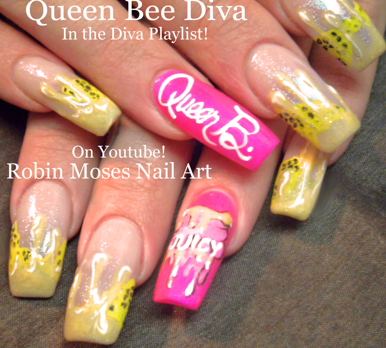 Robin moses nail art queen bee nail art diva nails diva nail queen bee nail art diva nails diva nail art honeycomb nails bumblebee nails nail art summer nail art long nail art juicy nails prinsesfo Image collections