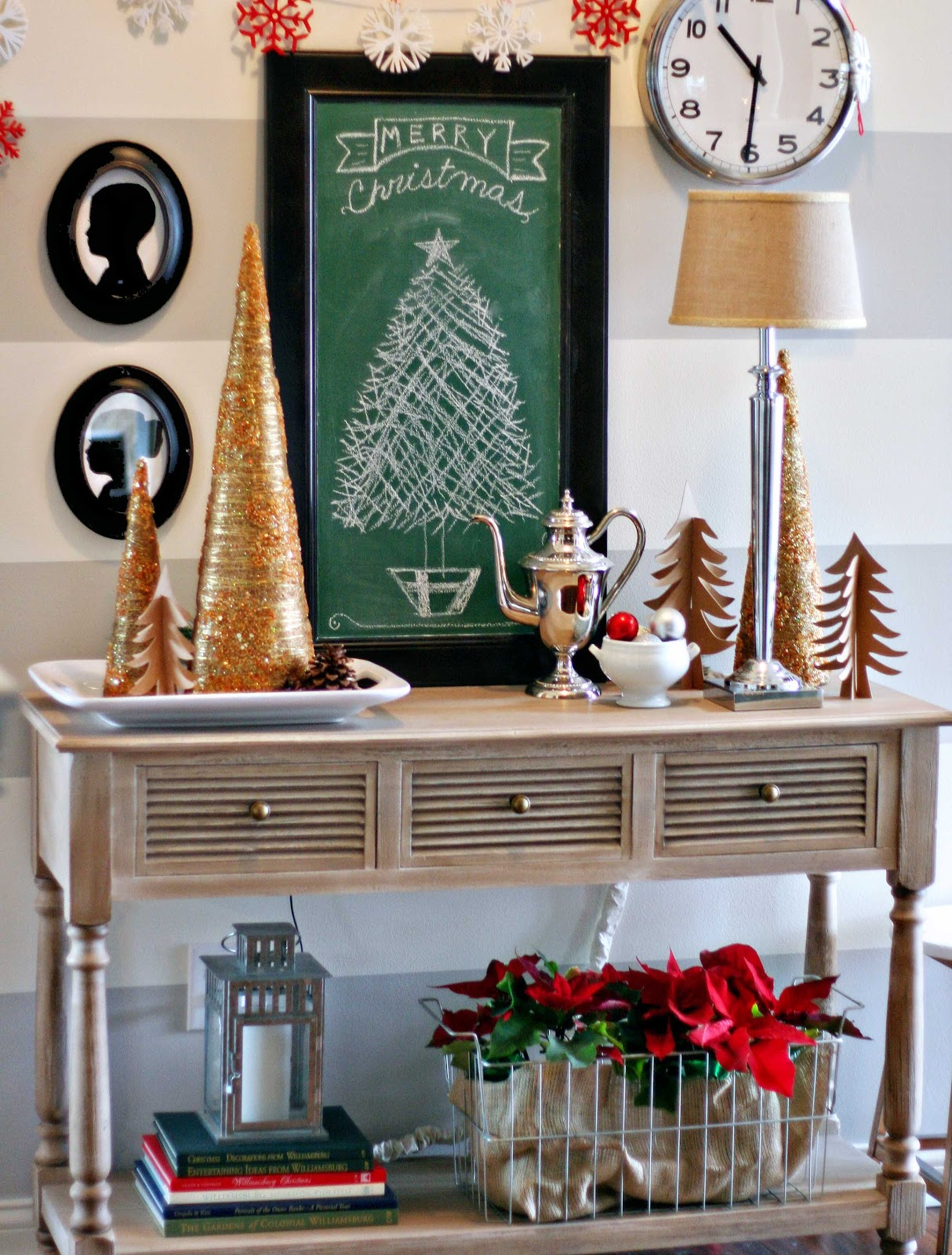 Tattered tulips christmas entry table
