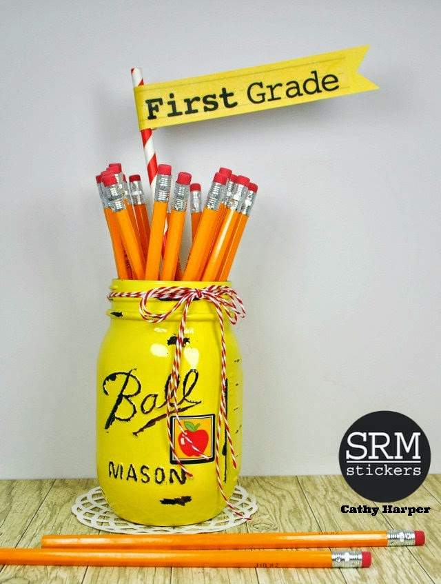 SRM Stickers Blog - Back to School Jars by Cathy H. - #school #gift #teacher #stickers #twine #mason jar