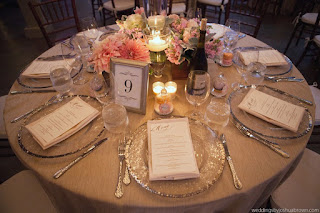 wedding reception, blush wedding flowers, charger plates, candles,  - Flora Nova Design, Seattle