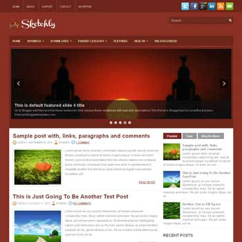 Sketchly blog template. magazine blogger template style. magazine style template blogspot