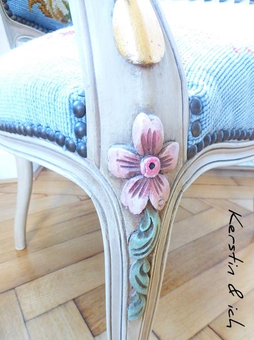 Antiker Stuhl Details Schnitzarbeiten