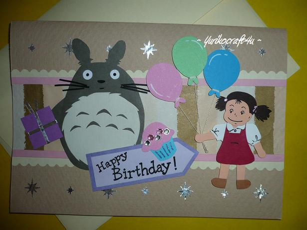 Handmade greeting cards by Yuriko Totoro and Mei Birthday Card – Totoro Birthday Card