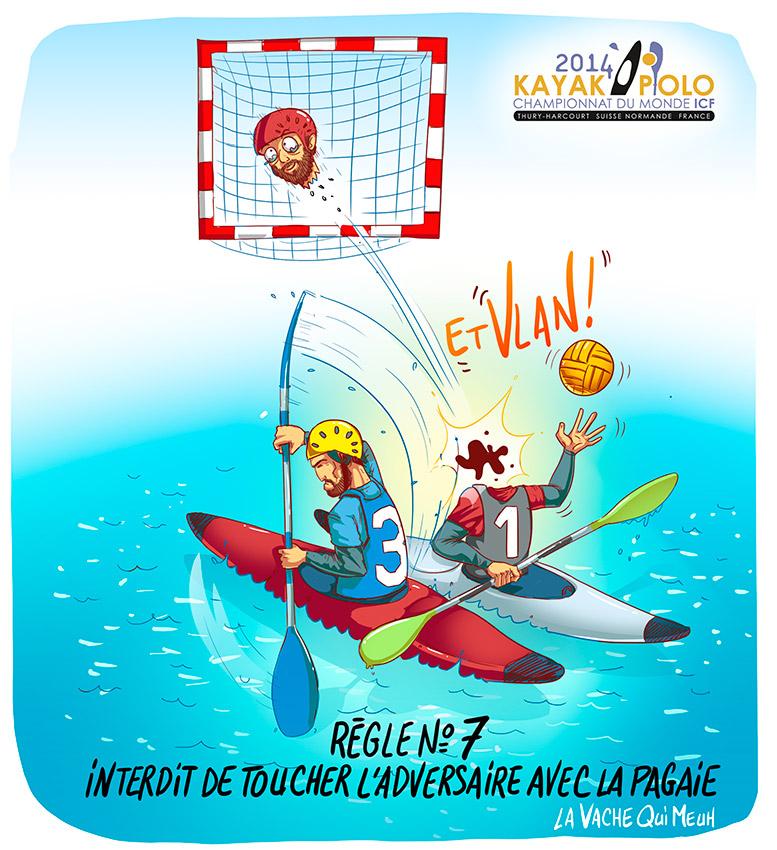 dessin humoristique sportif par le studio la vache qui meuh pour les championnat du monde de kayak polo 2014 en Normandie