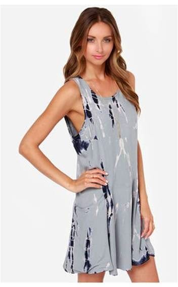 Free For All Grey Tie-Dye Dress