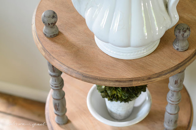 You'll never believe how this table looked like before a little sanding and paint.  Now it is a perfect piece for your industrial farmhouse decor. | www.andersonandgrant.com