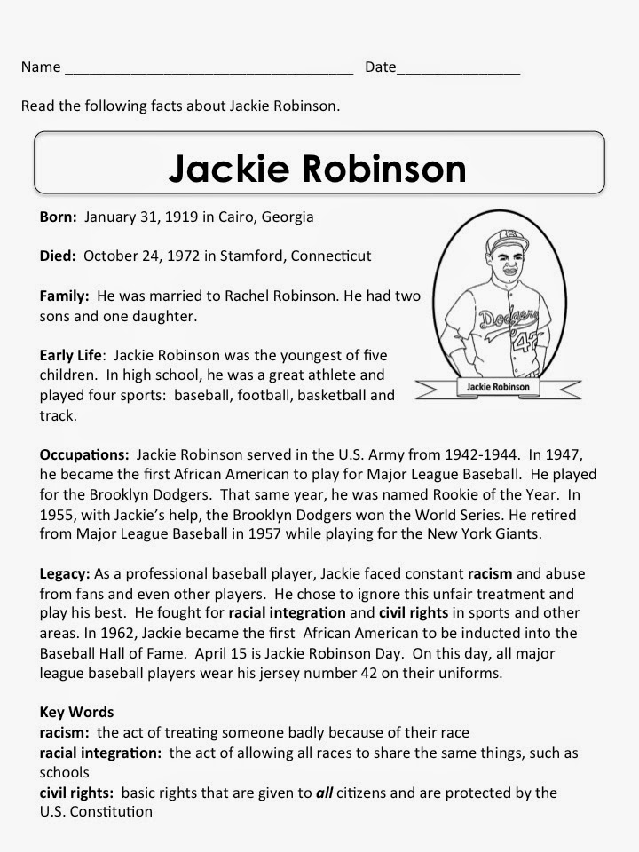 jackie robinson worksheets worksheets library and  jackie robinson biography worksheet education com