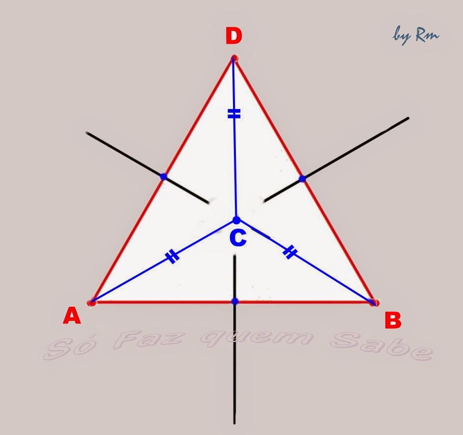 Circuncentro, equidistante aos três vértices do triângulo por ser a intersecção das três mediatrizes