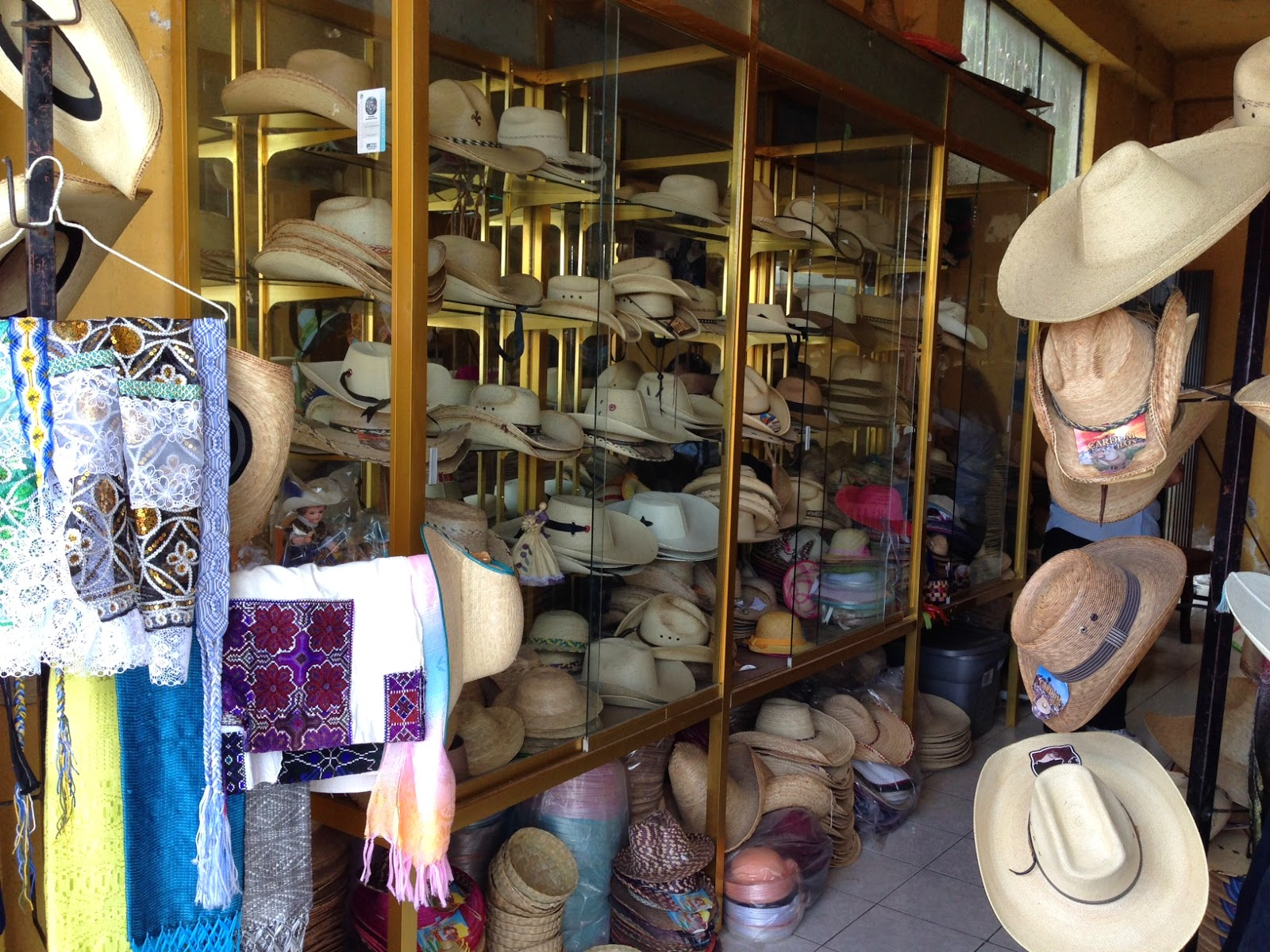 Straw hats store in Jaracuaro at Lake Patzcuaro