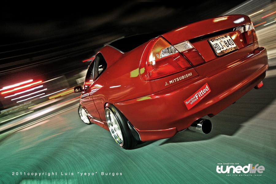 Mitsubishi Mirage, USMD, JDM, usportowiony samochód, japoński, zdjęcia, tuning, od tyłu, Lancer Coupe, czerwony