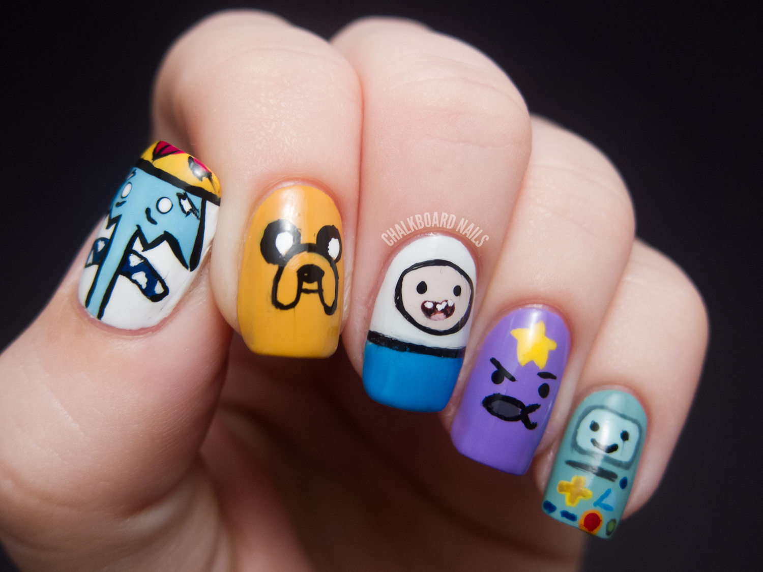 What time is it? - Adventure Time Nail Art | Chalkboard Nails | Nail ...