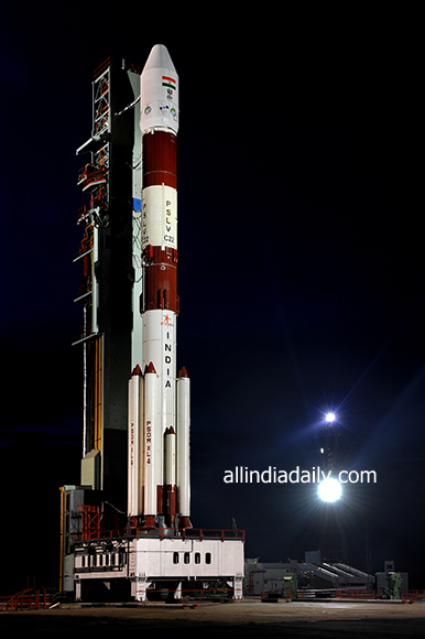 FULL VIEW OF PSLV-C22 ON FIRST LAUNCH PAD
