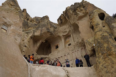 Iglesia destruida del Museo al aire libre de en Göreme