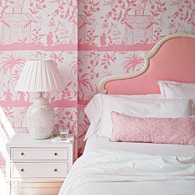 A blind pash interiors pretty in pink for Pretty bedroom wallpaper