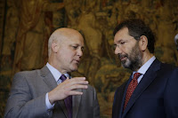 New Orleans Mayor Mitch Landrieu and Rome Mayor Ignazio Marino, right, attend a press conference after a meeting in Rome Monday, July 20, 2015. Dozens of environmentally friendly mayors from around the world are meeting at the Vatican this week to bask in the star power of eco-Pope Francis and commit to reducing global warming and helping the urban poor deal with its effects. (AP Photo/Gregorio Borgia) Click to Enlarge.