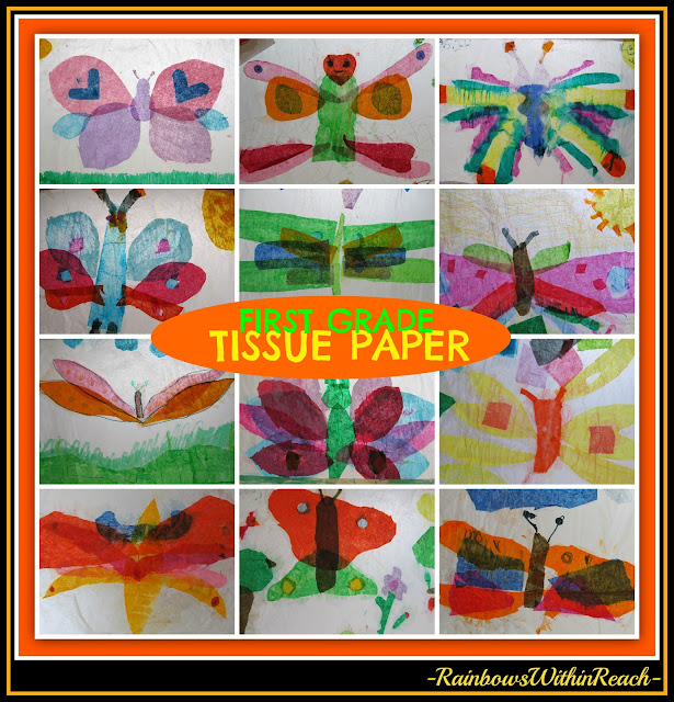 photo of: Tissue Paper Butterfly 'Sun-Catchers' by First Graders