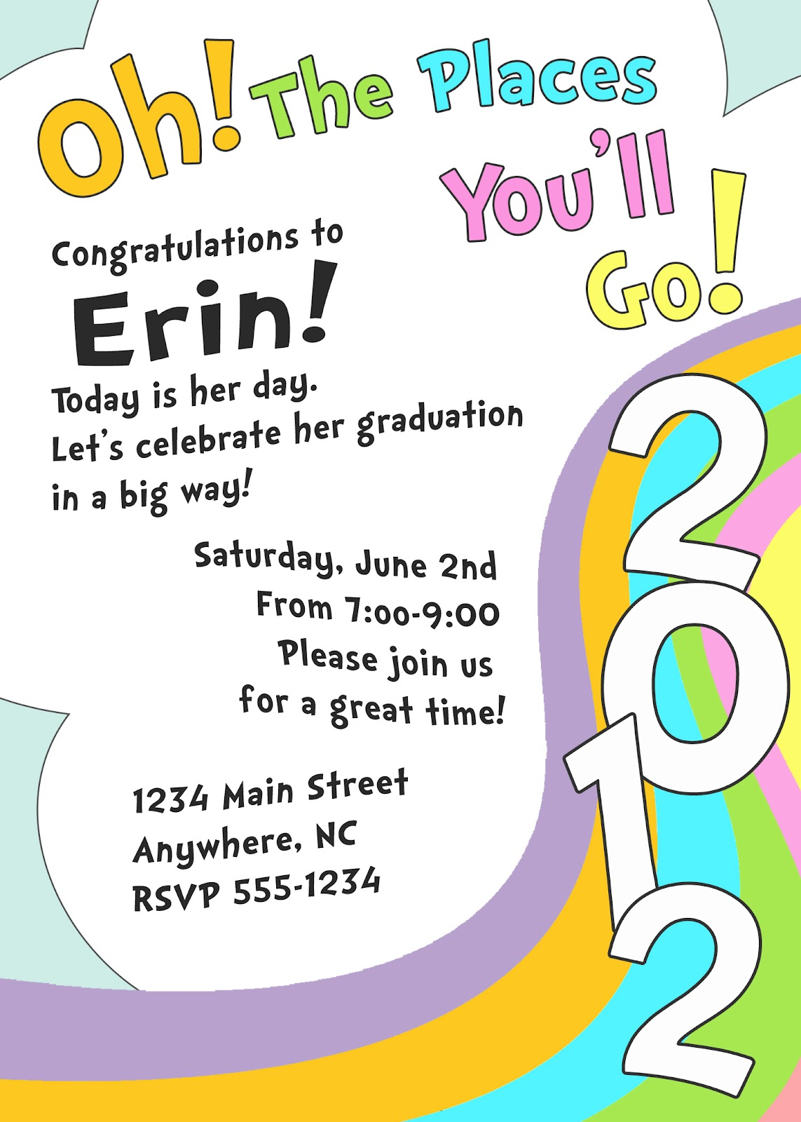 meghily's oh, the places you'll go  graduation invite, Quinceanera invitations