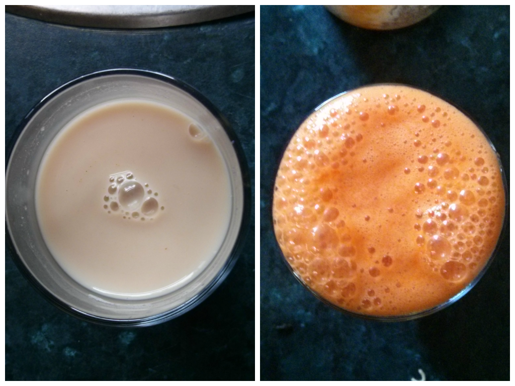 Turmeric hazelnut milk and Apple, Carrots, Lemon and Ginger Juice