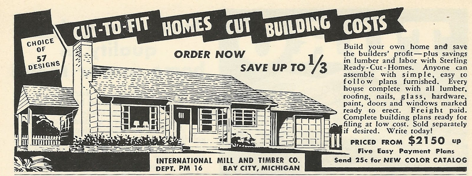 Old ads are funny 1956 ad cut to fit homes cut building for Ways to cut cost when building a house