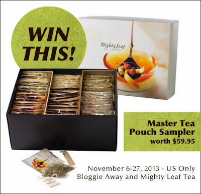 Enter the Mighty Leaf Tea Giveaway. Ends 11/27.