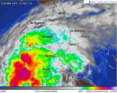 Potenzieller Tropischer Sturm RINA verlässt Yucatán - jetzt Florida im Visier (mit Live-Stream), Rina, Kuba, Yucatán, Florida, Riviera Maya, Cancún, Playa del Carmen, Mexiko, USA, Live Stream, aktuell, Oktober, 2011, Hurrikansaison 2011, Satellitenbild Satellitenbilder,