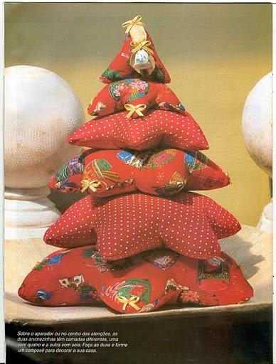Árvore de natal em tecido com moldes