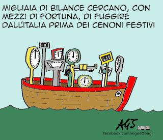 Cenone, Natale, Capodanno, feste, bilance, umorismo, vignetta satira