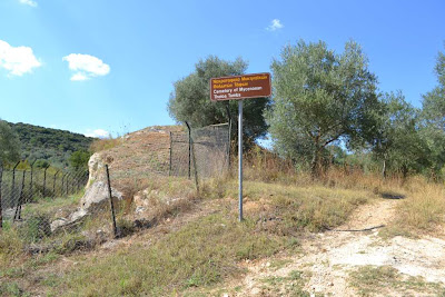 Entrance signpost to the Pellana Mycenaean Chamber tomb cemetery