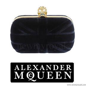 Crown Princess Victoria style Alexander McQueen navy velvet britannia clutch