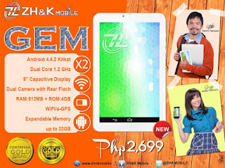 ZH&K Mobile Gem, 9-inch Dual Core Tablet for Php2,699