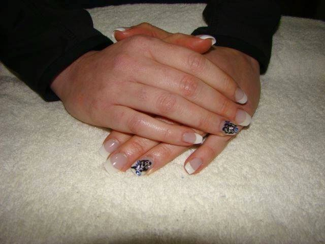 French white acrylics nail art + LED polish and chrome silver background and 3D black rose nail art with stone feats