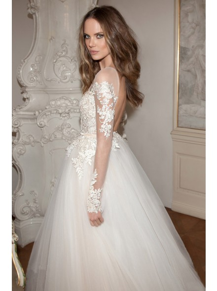 http://www.landybridal.co/romantic-illusion-natural-floor-length-tulle-ivory-long-sleeve-wedding-dress-with-appliques-and-ribbons-lwvf15001.html