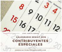 Calendario SENIAT Contribuyentes Especiales 2016