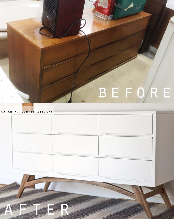 Mcm Dresser White Painted