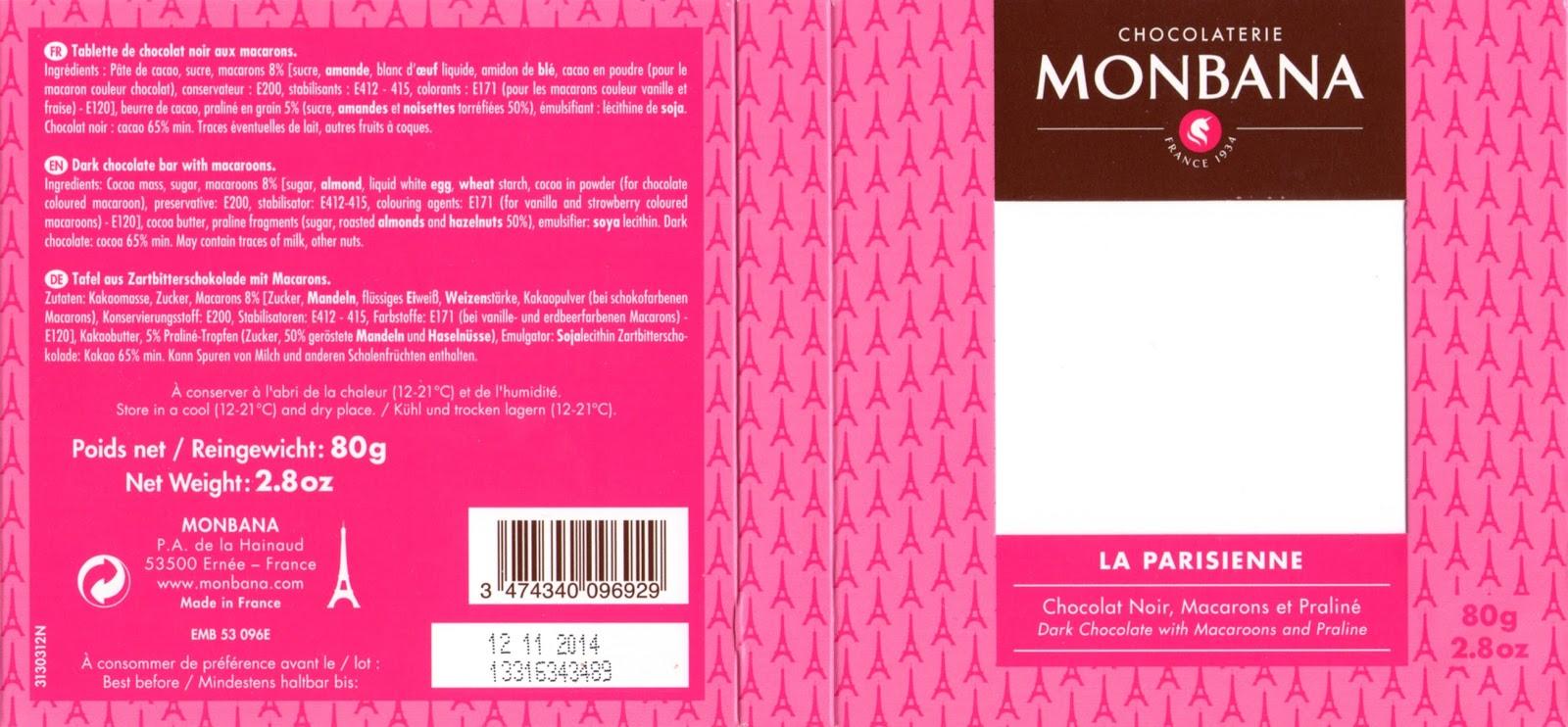 tablette de chocolat noir gourmand monbana noir la parisienne