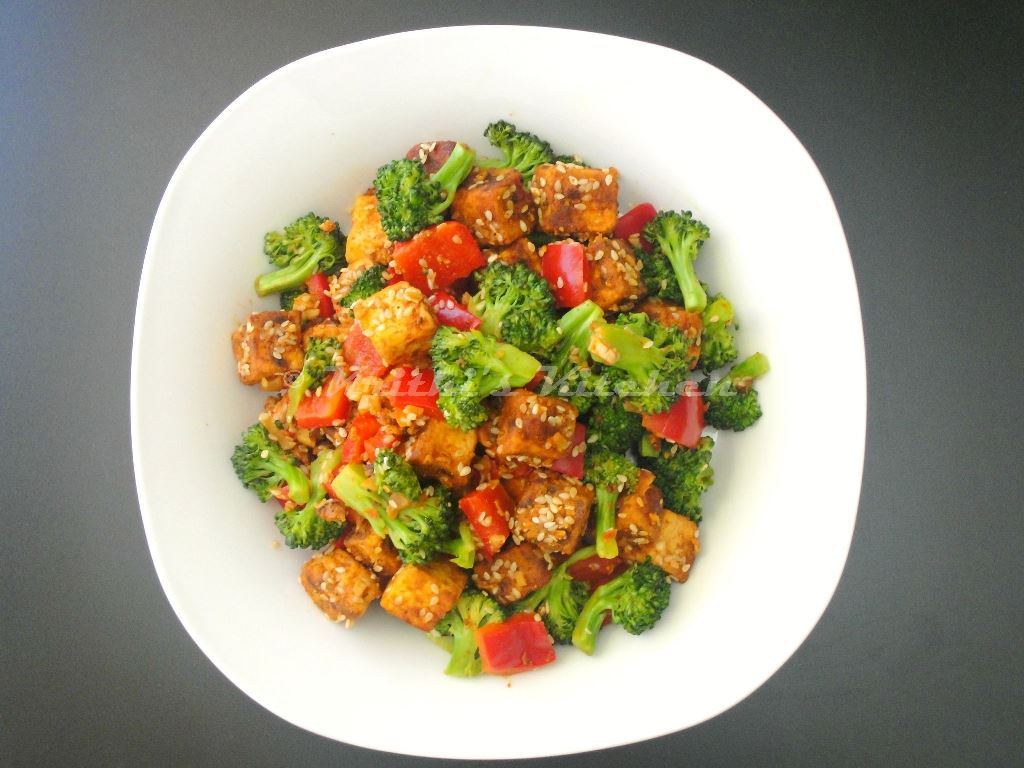 ... Sesame Crusted Tofu Salad with Broccoli and Bell Pepper   Indian Tofu