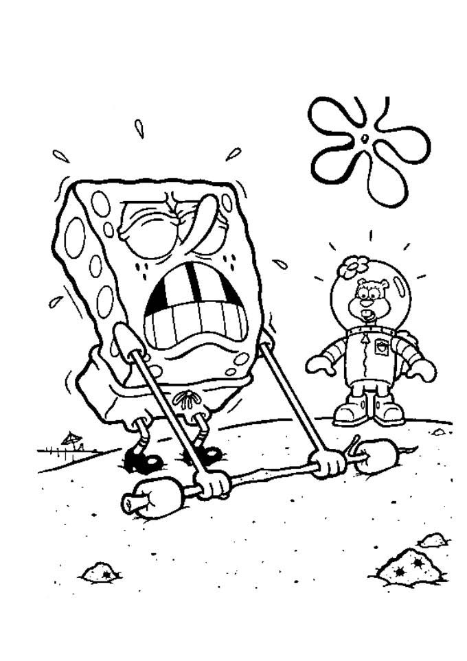 a desenhar Bob Esponja Na Fenda Do Bikini colorir