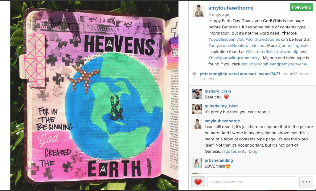 Amy Lou Hawthorne's Illustrated Bible via Instagram