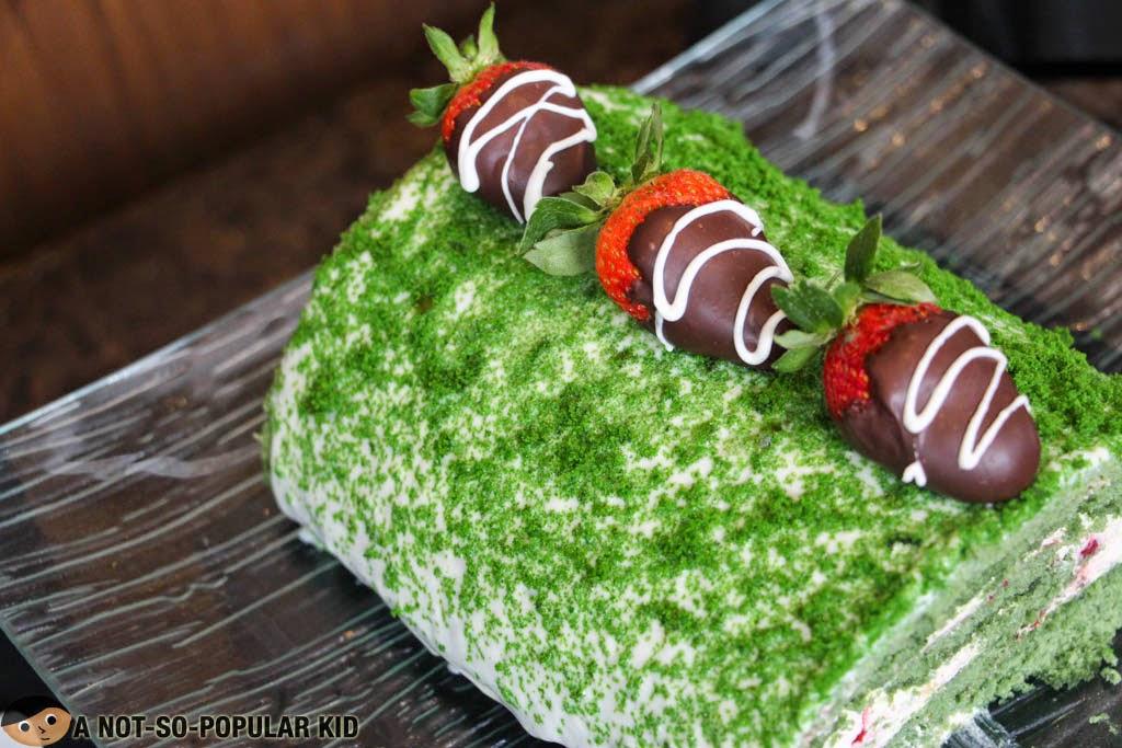 Pandan Log Cake with Baguio Strawberries of F1 Hotel Manila
