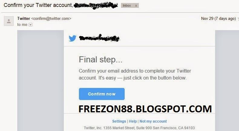 email konfirmasi twitter