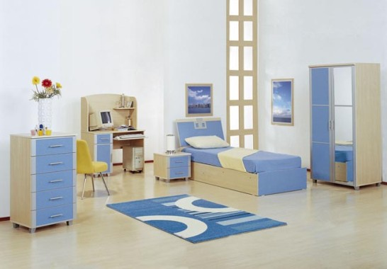 mavi+beyaz+genc+odasi++takimi Yeni Tasarım Genç Odası Modelleri