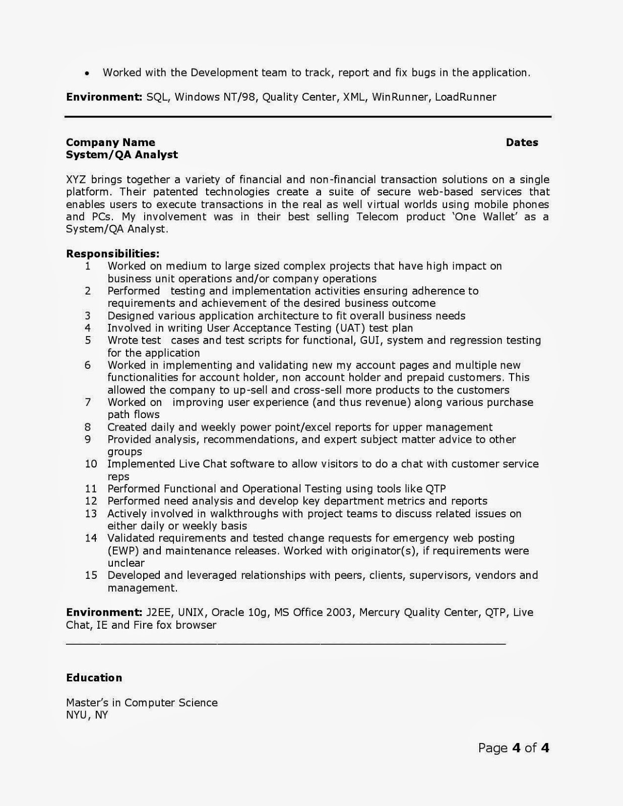qa analyst resume - Ideal.vistalist.co