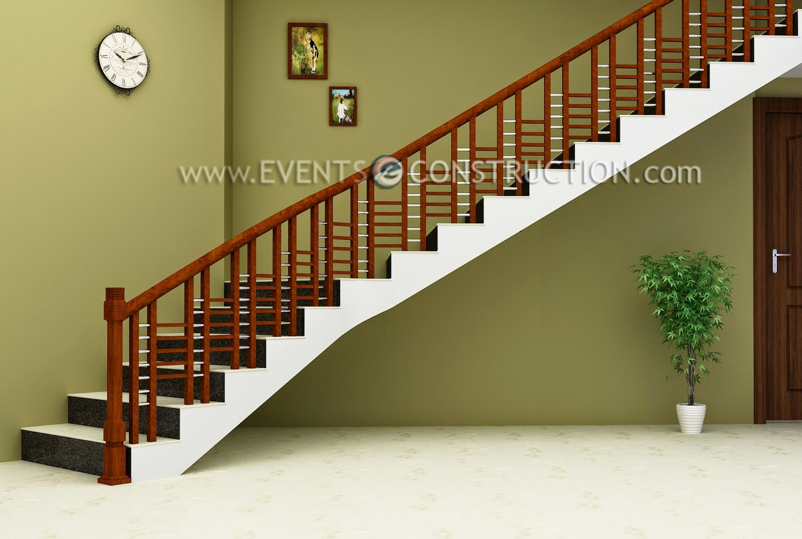 Evens construction pvt ltd simple wooden staircase design - Stairs in a small space model ...