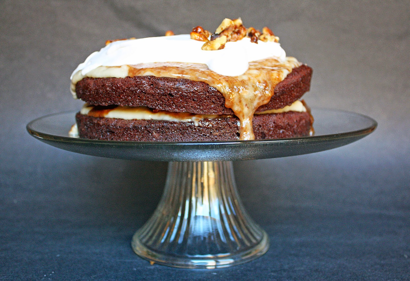 "Vegan ""better than sex"" cake (rich chocolate cake with vanilla pudding, caramel, and whipped cream)"