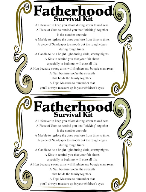"Help the dad in your life survive Fatherhood with this fun printable survival kit. This makes a great father's day gift for the dad in the trenches, the dad just coming home from the hospital, or the dad who is surviving the ""know it all"" stage."