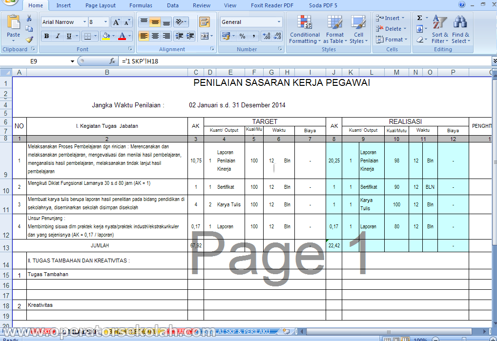 SKP (Sasaran Kineja Pegawai) Guru dan Kepala Sekolah SD / SMP 2014-2015 berserta Panduan