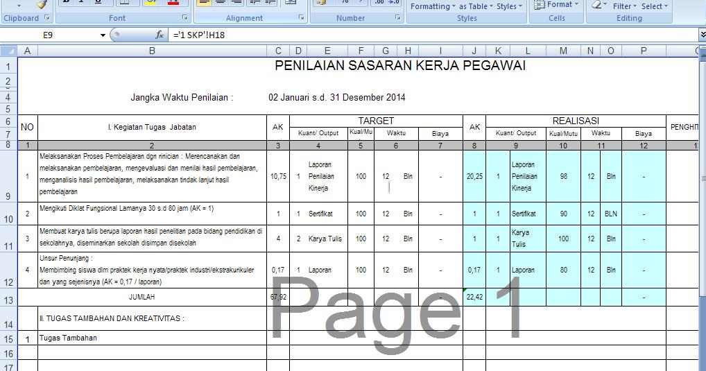 Download Skp Sasaran Kineja Pegawai Guru Dan Kepala