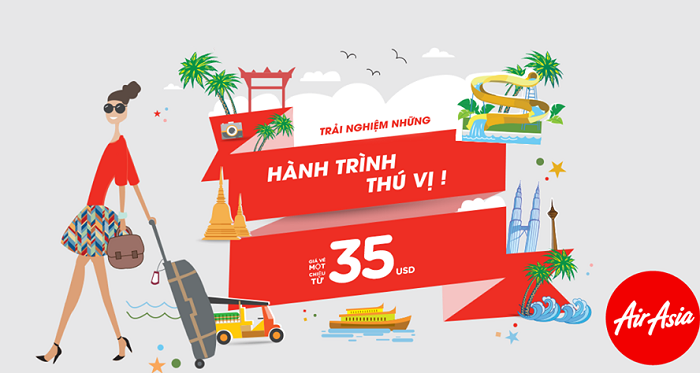 Khuyến mãi vé 35 USD Air Asia