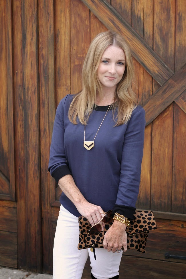 pim and larkin shirt, jcrew jeans, stuart weitzman over the knee boots, clare v leopard clutch, madewell necklace